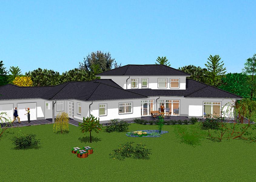 Haus mit elw modell l 768 gesamtwohnfl che 269 m for Walmdachhaus mit garage