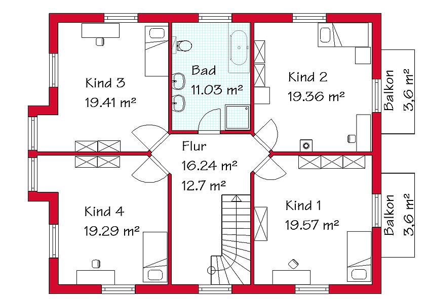 Einfamilienhaus grundriss 3 kinderzimmer  Haus f. d. Großfamilie - Modell K2 248, Gesamtwohnfläche 275,9 m² ...