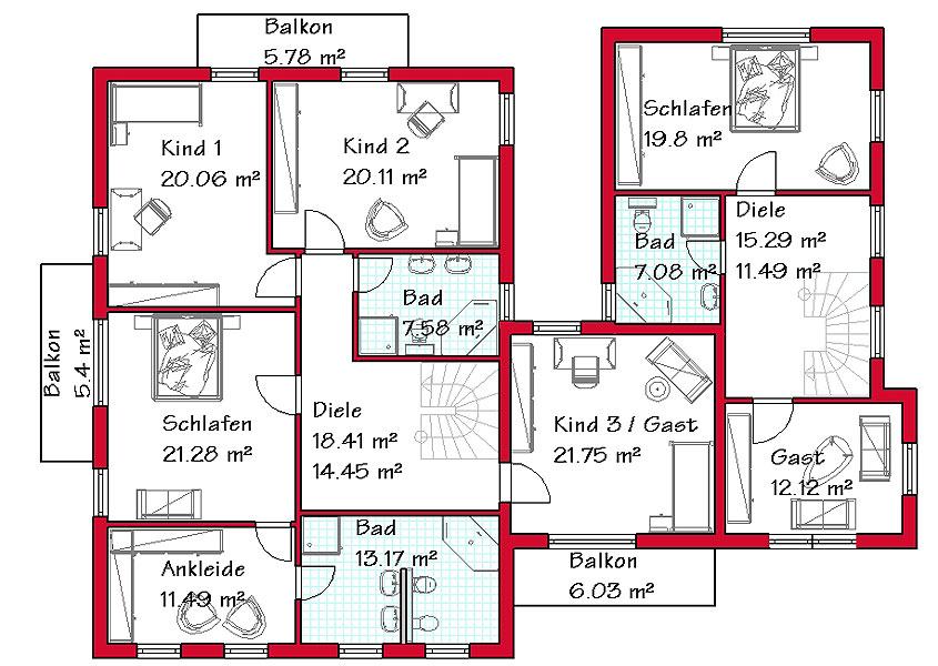 Zweifamilienhaus Modell Ms 797 Gesamtwohnflache 373 7 M