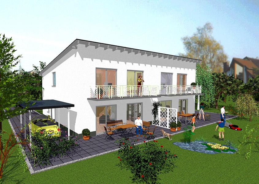 Doppelhaus modell d 625 gesamtwohnfl che links 123 6 m for Bilder doppelhaus