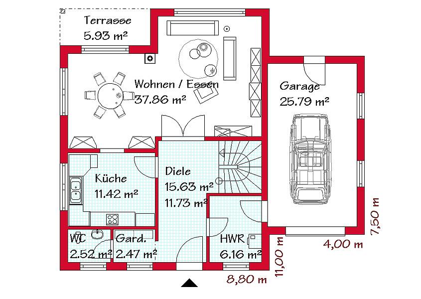 Grundriss einfamilienhaus mit integrierter garage  Landhaus - Modell L 770, Gesamtwohnfläche 170,7 m² | Rhein-Main ...