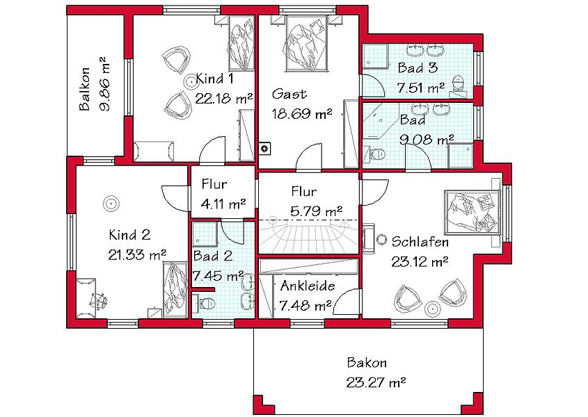 Haus Grundriss 3 Kinderzimmer | Haus F D Grossfamilie Modell A 401 Gesamtwohnflache 257 4 M