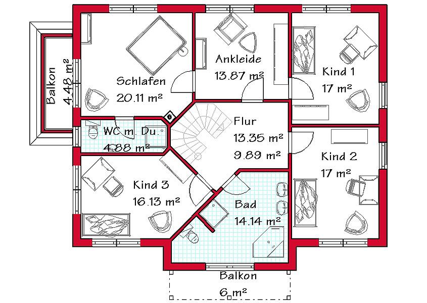 Einfamilienhaus grundriss 3 kinderzimmer  Mediterranes Stadthaus - Modell MS 722, Gesamtwohnfläche 239,1 m²