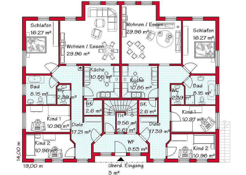 Dreifamilienhaus modell z3 270 gesamtwohnfl che 535 5 for Zweifamilienhaus bauhausstil