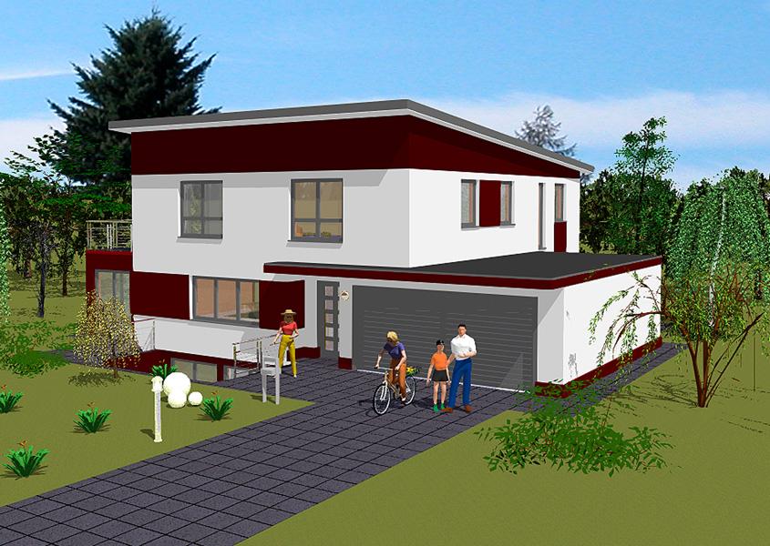 Stadtvilla mit integrierter garage  Pultdachhaus - Modell P 178, Gesamtwohnfläche 187,2 m² | Rhein ...