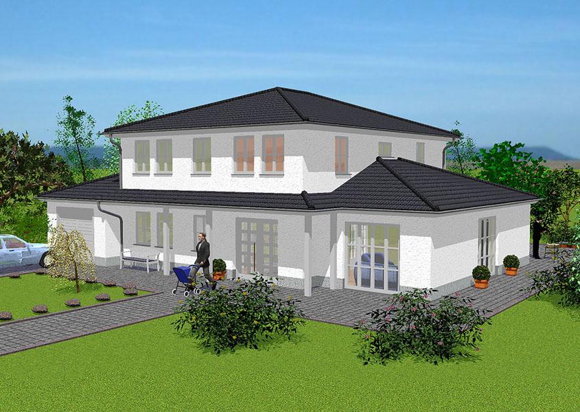 mediterranes stadthaus modell ms 712 gesamtwohnfl che 210 9 m. Black Bedroom Furniture Sets. Home Design Ideas