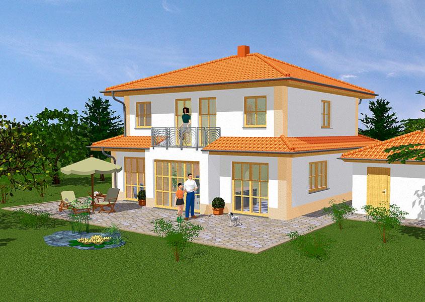 Stadtvilla mediterran  Mediterranes Stadthaus - Modell MS 753, Gesamtwohnfläche 134,3 m²